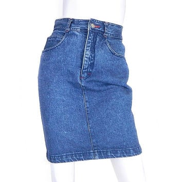 Sz 6 High Waisted ESPRIT Denim Skirt - Vintage 80s / 90s Stone Washed Jean Skirt