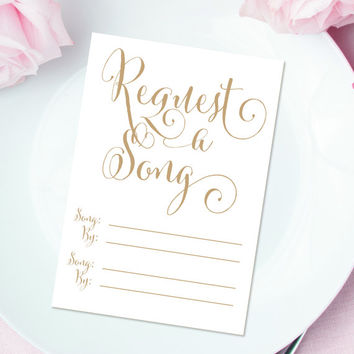 "Request a Song cards - 3.5 x 5 - DIY Printable cards in ""Bella"" antique gold script - PDF and JPG files - Instant Download"
