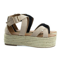 Fatima1 Wrapped Espadrille Jute Flatform, Strappy Sandal. Women's Summer Shoes