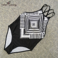2016 New Black Geometric One Piece Swimsuit Women High Cut Bodysuit Swimwear Sexy Backless Monokini Bathing Suit Maillot De Bain