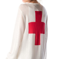 Wildfox Couture Love Saves Lives Perfect Cardi Clean White