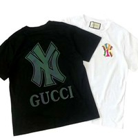 GUCCI x NY Joint Color Diamond Letter Women's Round Neck Half Sleeve T-Shirt