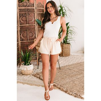 These Simple Rules Ruffle Waist Shorts (Beige)