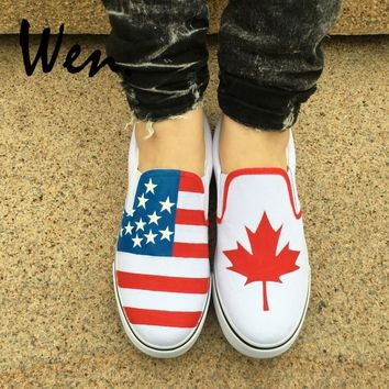 Wen Hand Painted White Slip On Shoes Custom Design American Flag Canada Flag Maple Leaf Man Woman' Canvas Sneakers Plimsolls
