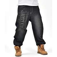 Men's Black Baggy Jeans Hip Hop Designer Brand Skateboard Pants loose Style Plus Size 30-46 True HipHop Rap Jeans Boy Trousers