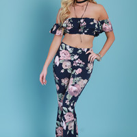 Floral Print Two Piece Flare Pants Set
