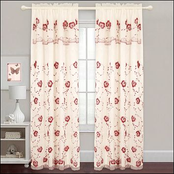 Evelyn - Embroidered Panel With Backing - Set of Two - Assorted Colors