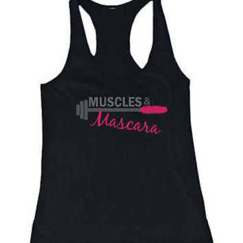 Women's Cute Black Cotton Work Out Tank Top - Muscles and Mascara