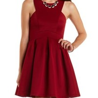 Pleated Racer Front Skater Dress by Charlotte Russe - Burgundy