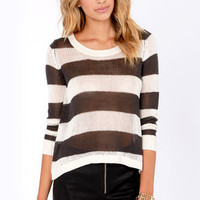 Billabong Hide Away Luv Grey and Ivory Striped Sweater