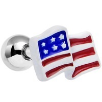 """16 Gauge 1/4"""" Red White Blue American Flag Tragus Cartilage Earring"""