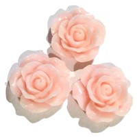 Light pink flower resin cabochon 15mm / 1-5 pieces