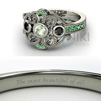 925 Sterling Silver Disney inspired Mulan Princess Engagement Rings with CZ