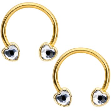 "14 Gauge 9/16"" Clear Gem Gold Tone Heart Horseshoe Nipple Ring Set"