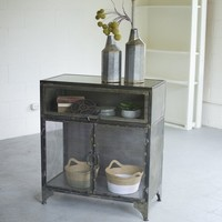 Metal and Glass Display Cabinet with Fold Up Door