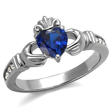 High polished Stainless Steel Blue Sapphire Imitation Ring
