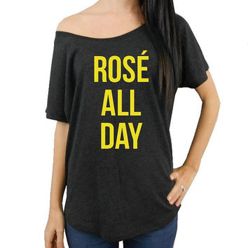 ROSE ALL DAY, Flowy Off Shoulder T-Shirt, Scoop Neck Tee, Flowy Tee, Brunch Shirt, Brunch Tee, Brunch so hard t-shirt, Mimosas Wine Shirt