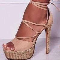 New Roman cross strap strap super high heel fish mouth sandals shoes