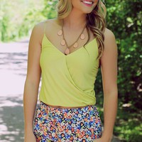 It's A Wrap Crop Top - Lime