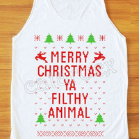 NEW Merry Christmas Ya Filthy Animal Shirt Merry Christmas Shirt Tunic Women Tank Top Unisex Shirt Vest Sleeveless Singlet Women Shirt S,M,L