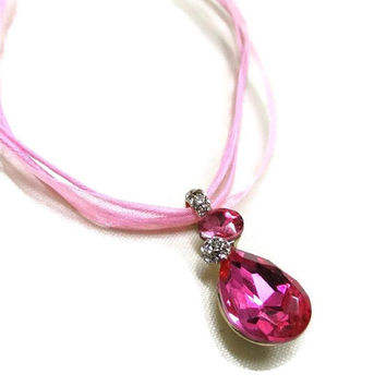 Pink Crystal Necklace, Austrian Crystal Necklace, Sparkle Necklace, Pink Organza Cord Necklace, Pretty Pink Pendant, Gift for Her