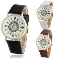 Womens   Quartz Unique Wrist Watches With Leather Band = 1956409988