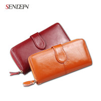 SENDEFN 100% Oil Wax Cowhide Leather Women Wallet Phone Pocket Purse Wallet Female Card Holder Lady Clutch Carteira Feminina