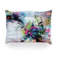 """Kess InHouse Mat Miller """"Streaming Eyes"""" Multicolor AbstractOblong Rectangle Throw Pillow, 14 by 20-Inch"""