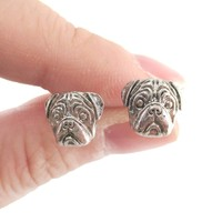 Realistic Pug Puppy Dog Face Shaped Stud Earrings in Silver | DOTOLY