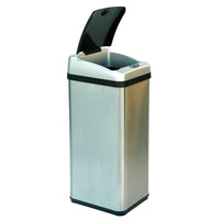 13 Gallon Rectangular Extra-Wide Opening Touchless Trash Can in Brushed Stainless Steel