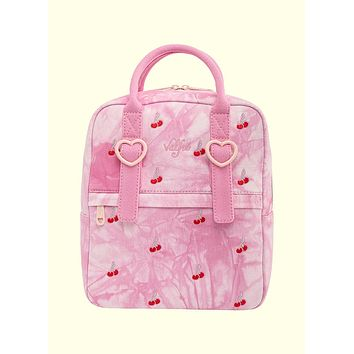 Valfré x Loungefly Pink Acid Wash Denim Cherry Backpack