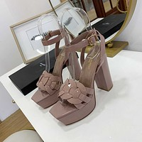 ysl women casual shoes boots fashionable casual leather women heels sandal shoes 50