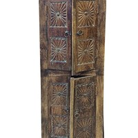 Antique Armoire Door Chakra Carved Cabinet Rustic Indian Furniture India
