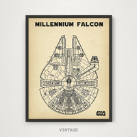 Star Wars Printable, Millennium Falcon Blueprint 4 COLORS, Printable Patent, Star wars Movie Poster, Star wars Print, Space Vehicle Diagram