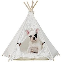 little dove Pet Teepee Dog(Puppy) & Cat Bed - Portable Pet Tents & Houses for Dog(Puppy) & Cat Lace Style (with or without optional cushion)