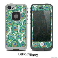The Peacock Green Feather Bundle Skin for the iPhone 4 or 5 LifeProof Case