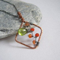 Gemstone Peridot Carnelian Necklace, Copper Frame Pendant, Oxidized Sterling Silver Rolo Chain, Wire Wrapped Jewelry, Birthstone Necklace