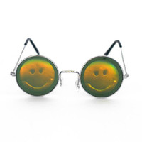 HOLOGRAPHIC SMILEY SUNGLASSES : Festival, Summer, Holographic, Grunge, Hippie, Novelty, Circle Sunglasses, Trippy