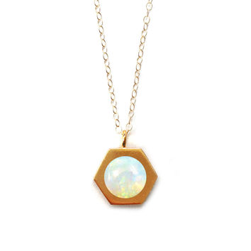 Gold Hex Pendant (opal inlay)