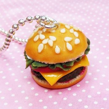 Cheeseburger Necklace , Polymer Clay