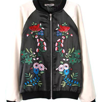 Black and White Floral Embroidered Baseball Jacket