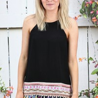 Boho Vibes Multi-Color Tassel Tank {Black}