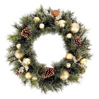 Holiday Champagne and Gold Ornament Wreath 24in