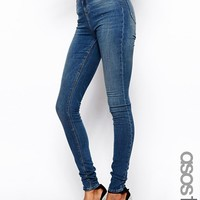 ASOS TALL Ridley High Waist Ultra Skinny Jeans in Mid Stonewash