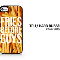 """TPU / RUBBER Black Case - Fries Before Guys - Typography - French Fries - Fast Food - Sassy Quote - iPhone 6/6S Plus (5.5"""") - (C) Andre Gift Shop"""