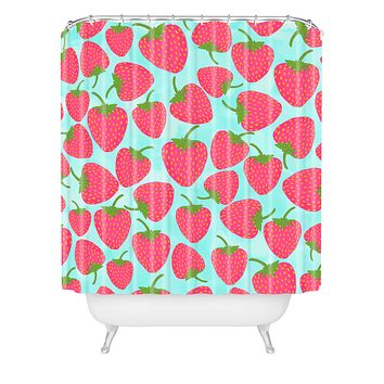 Lisa Argyropoulos Strawberry Sweet In Blue Shower Curtain