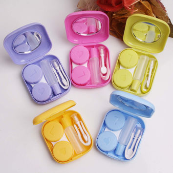 Mini Contact Lens Case Travel Kit Portable Mirror Container Holder
