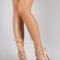 Strappy Lace Up Ankle Tie Stiletto Heel