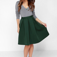 Perfect Balance Dark Green Pleated Midi Skirt