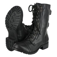 Top Moda Pack-72 Black Military Lace up Mid Calf Combat Boot  Black, 7